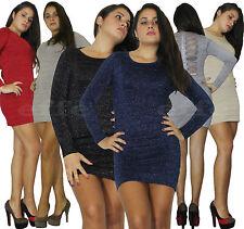 Miniabito donna vestito Maxipull abito laminato lurex maxi maglia  nuovo R7743