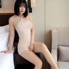Women Backless See Through Dress G-string Micro Halter Sheer Bodycon Club Wear