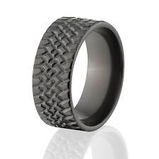 Custom Black Zirconium Tire Tread Rings,  Rugged Men's Rings