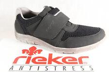 Rieker Zapatillas de hombre zapatos NEGRO CON CIERRE ADHESIVO B6550 NUEVO