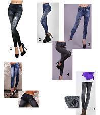 JEANS trendy Leggings Legging Pantaloni Treggings Jeans rovinati look 34-38 NUOVO