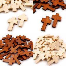 Anhänger Kreuz 30 x 18 mm Holzkreuz Buche Kirsche natur Rosenkranz Taufe Geburt