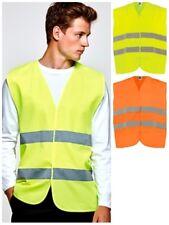 Chaleco fluorescente seguridad laboral. Alta visibilidad. Bandas reflectantes.