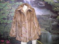beige BROWN VINTAGE FAUX FUR COAT DUBROWSKY SIZE XL