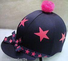 Hat Silk Skull cap Cover NAVY BLUE * HOT PINK STARS & RIBBON * WithOR w/o Pompom