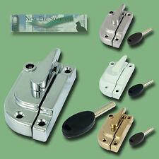 6 Pack Modern Locking Fitch Fasteners, Catch, Sash Window, Brass, White, Chrome.