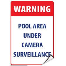 Warning Pool Area Under Camera Surveillance Activity Sign Label Decal Sticker