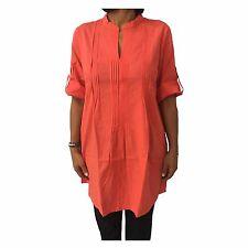 Camisa de mujer encima naranja AND Material: 52% lino 48% algodón