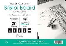 A2 BRISTOL BOARD. A2 420 x 594mm. a Foglie Sciolte. 250gsm Bianco Liscio Scheda.