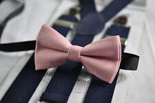 Dusky Dusty Rose Blush Pink Cotton Bow tie + Navy Blue Elastic Suspenders Braces