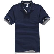 Mens Short Sleeve Polo Shirt Plain Top Designer Style Fit T-Shirt Navy Grey