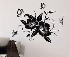 Wandtattoo HIBISKUS mit Schmetterlinge Blüte Blume Ranke Schmetterling Aufkleber
