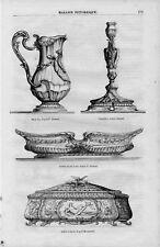 Stampa antica VASO CANDELABRO BACINELLA Luigi XV 1856