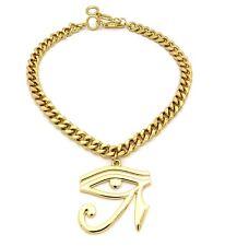 Gold Evil Eye of Heru Osiris Isis Charm Pendant Chain Necklace Womens Jewelry