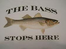 "Striped Bass Fishing T-Shirt ""The Bass Stops Here"" Fishing Tee Shirt Stripers"