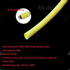 Gelb Silikon Schrumpfschlauch HOCH TEMP Flexibel Schlauch Tube Rohr Øi 1~12mm
