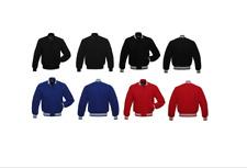 Negro/Rojo/Azul Letterman Béisbol Universitario Bomber de lana chaquetas Varsity Lana Completo