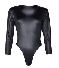 Ladies Long Sleeve PU Wet Look PVC Leather Shiny Sexy Leotard Bodysuit Women Top