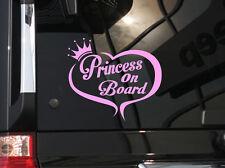 "Princess on Board ! Cute Vinyl Car Decal Sticker 6""(w) w/ heart & crown design"