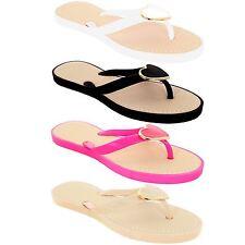 Ladies Jelly Strap Metal Heart Accent Women's Thong Fashion Sandals Flip Flops