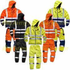 Hi Viz Jogging Suit Work Wear Mens Hoody Sweatshirt Combat Fleece Bottoms Jogger