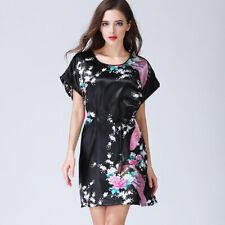 UK Women Ladies Dress Satin Black White Beige UK Seller