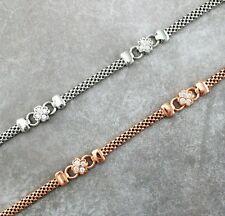 argento sterling 925 placcato oro rosa zirconia cubica TRIFOGLIO FIORE