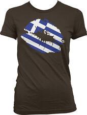 Greek Flag Colors Greece Lipstick Kiss Lips Heritage GRC GR From Juniors T-Shirt