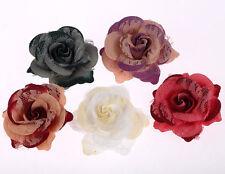 CraftbuddyUS 10 75mm 3D Vintage Lace & Fabric Rose Flower Wedding Deocration