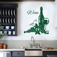 Botella de vino, vidrio & Uvas-Comedor Cocina Restaurante Adhesivo Pared Arte