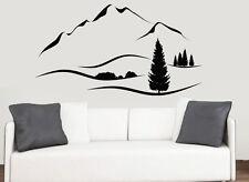 Mountain range avec hills & arbres paysage mur art vinyle autocollants murale decals