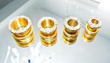 Tunnel Strass Plug Flesh Piercing Ohr Schraubgewinde Zirkonia Ohrschmuck gold