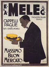 E&A MELE MASSINO BUON MERCATO STRAW HATS FASHION ITALIAN VINTAGE POSTER REPRO