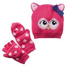 Jumping Beans winter OWL beanie hat & flip-top gloves set fleece lined M NEW