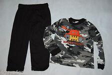 Toddler Boys L/S Outfit BLACK GRAY CAMO SHIRT Knit Pants TANK MAJOR HUNK  2T 3T