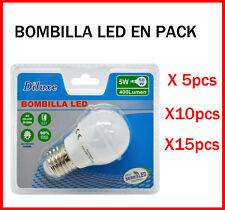 BOMBILLA LED 5W CASQUILLO GRANDE E27 LUZ BLANCA 6400K PACK DE AHOORO DESDE 5 UDS