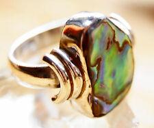 Breit Silberring 60 Perlmutt Paua Muschel Ring Silber Massiv bunt Seeopal Natur