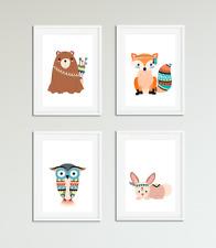 Tribal Forest Animal Nursery Prints / Pictures, Kids Bedroom Wall Art, Playroom