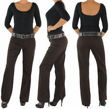 Damen Business Hose + Gürtel Schlaghose Stoffhose Bootcut Elegant Classic Braun