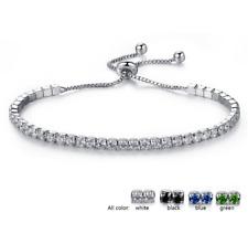 Silver Adjustable Bridesmaid Tennis Bracelet Rhinestone Cubic Zirconia Crystals