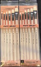 6PCS FLATHEAD PAINTBRUSH SET - s9110 PEARL WHITE ASSORTED SIZES CRAFT PAINT ART
