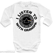 Baby bodysuit I LISTEN PINK FLOYD with GRANDPA,ROCK,kids,One Piece infant jersey
