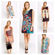 Womens Fashion Ex-Branded Multi 60's Crew Neck Sleeveless Shift Mini Tunic Dress
