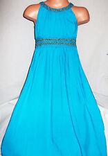 GIRLS BLUE GOLD BRAID TRIM GRECIAN  LONG LENGTH COTTON MAXI DRESS