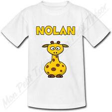 T-shirt Enfant Girafe avec Prénom Personnalisé