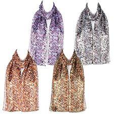 Chiffon Satin Ladies  Flower Pattern  Scarf Shawl Wrap