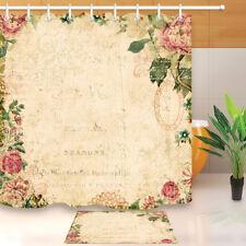 Vintage Style Botanical Floral Shower Curtain Set Bathroom Mat Polyester Fabric