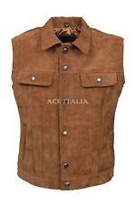 Men's Trucker Tan Suede Classic Western Style Real Cowhide Leather Waistcoat