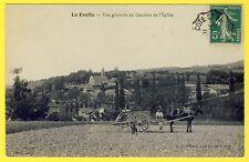 cpa 38 - LA FRETTE (Isère) Vue Générale du Village Animé ATTELAGE PAYSAN CHIEN