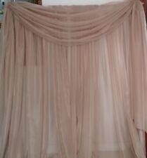 "Tan wedding decoration drapes sheer 13 to 18 ft x 114"". backdrop, room divider"